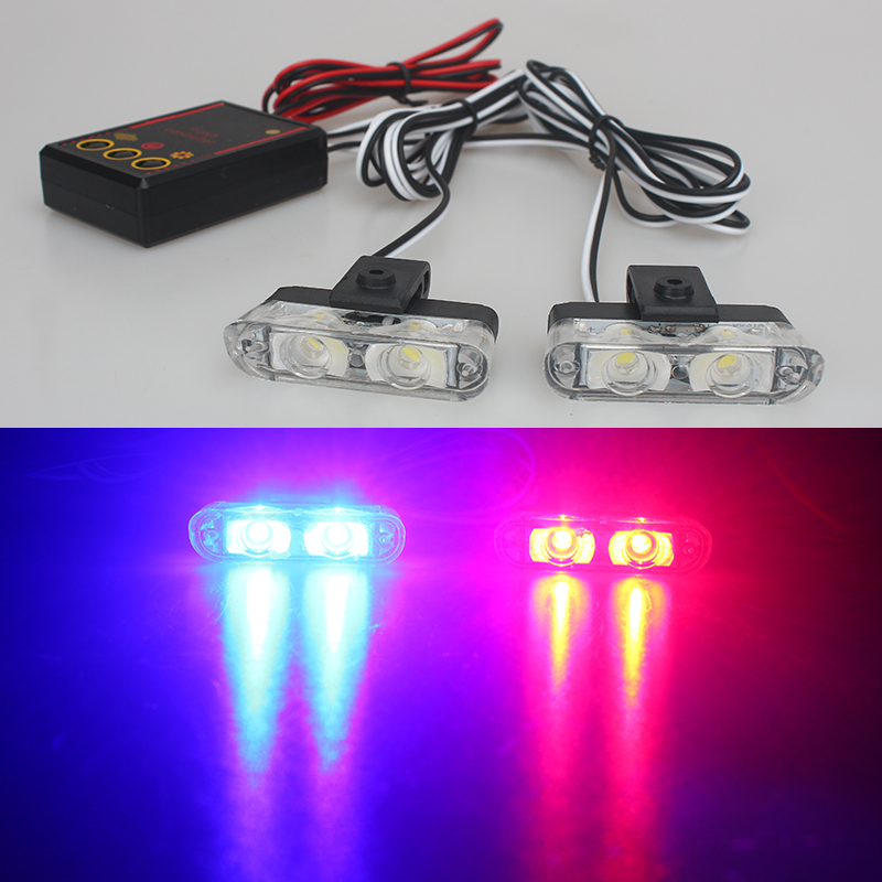 Car Styling 12V 2X2 4LED Red/Blue Yellow Car Police Strobe Flash Light Emergency Warning 3 Flashing Fog Lights High Brightness