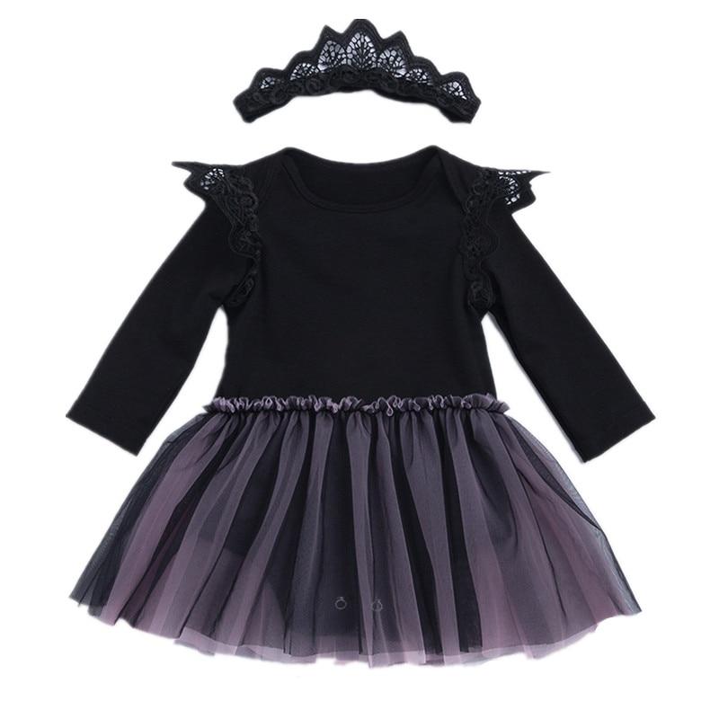 Cute baby girls bodysuits newborn black lace long sleeve jumpers children climbing clothes headwear 2pcs set 17N1120