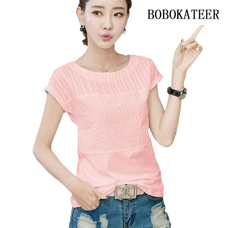 BOBOKATEER casual kobiety bluzki O-neck letnie topy biały krótki rękaw 3XL plus rozmiar haftowana bluzka blusas feminina ver o 2019