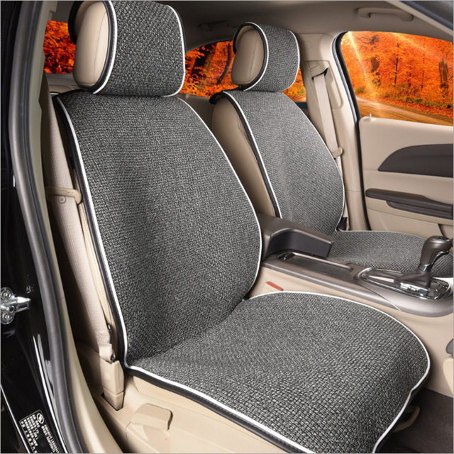 Front Car Seat Covers Universal linen Breathable Non-Slip Car Seat Cushion Protector Pad Mat Fit for Most Car Auto Driver Chair