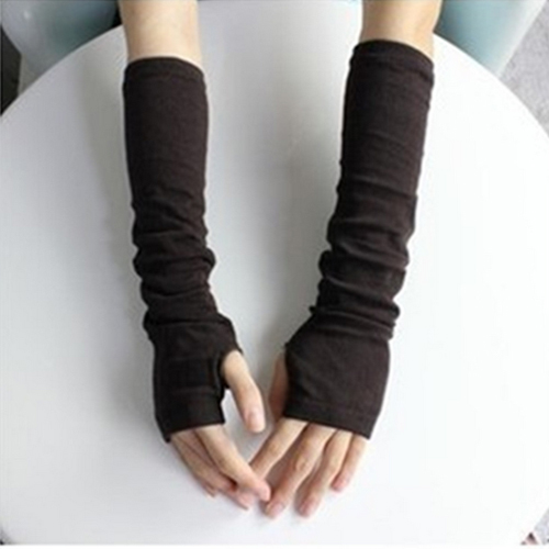Hot Women Fashion Knitted Arm Fingerless Mitten Wrist Warm Winter Long Gloves  8OKA