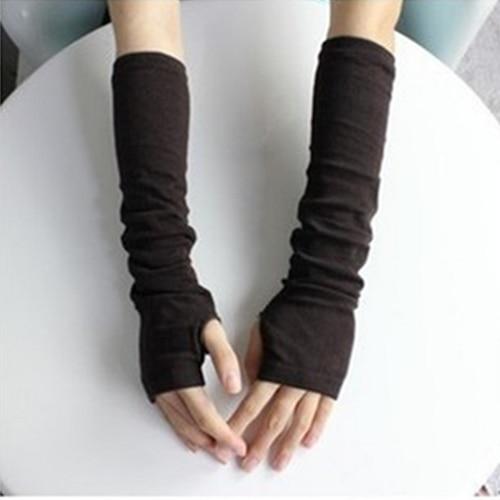 Hot Women Fashion Knitted Arm Fingerless Mitten Wrist Warm Winter Long Gloves  8OKA