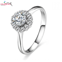 COLORFISH Cute Flower 925 Sterling Silver Ring Brilliant Round Cz Diamond Engagement Wedding Band Rings For