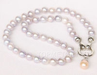 FREE SHIPPING>>>@ natural 17 8mm round white gray pearls pendant necklace e2512