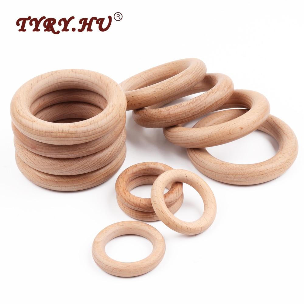 TYRY.HU 20pcs 40mm/70mm Beech Wooden Baby Teething Rings Baby Teethers DIY Baby Teething Toys Baby Rattle Accessories BPA Free