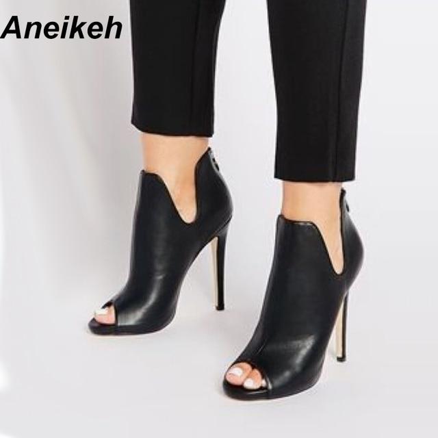 Aneikeh/Новый Дизайн женские ботинки «Челси» черный с открытым носком обувь на высоком каблуке Демисезонный женские ботильоны Размеры размеры 35–40 938-119 #