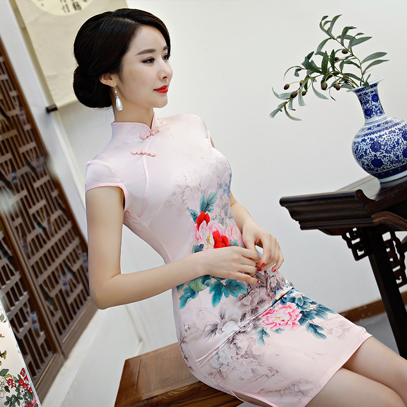 New Arrival Women's Satin Mini Cheongsam Fashion Chinese Style Dress Elegant Slim Qipao Clothing Size S M L XL XXL 368483 17