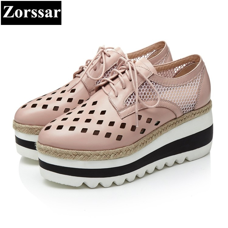 {Zorssar} summer Ladies Shoes Wedges High Heels women Platform pumps Fashion Genuine Leather Hollow out breathable womens shoes 2016 new women shoes spring womens platform genuine leather shoes pumps wedges female heels shoes sapatos femininos xj 056