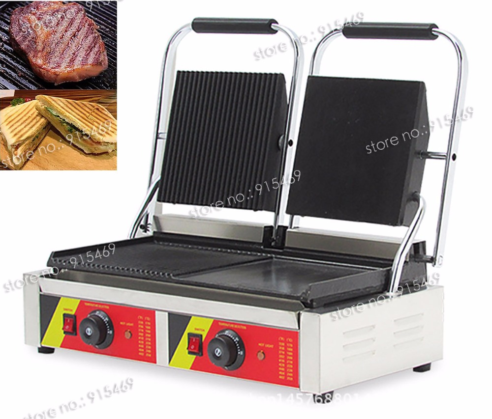 Free Shipping 110V 220V Electric Heavy Duty Commercial Double Sandwich Panini Grill Press Machine free shipping commercial non stick 220v electric sandwich plate panini grill press machine