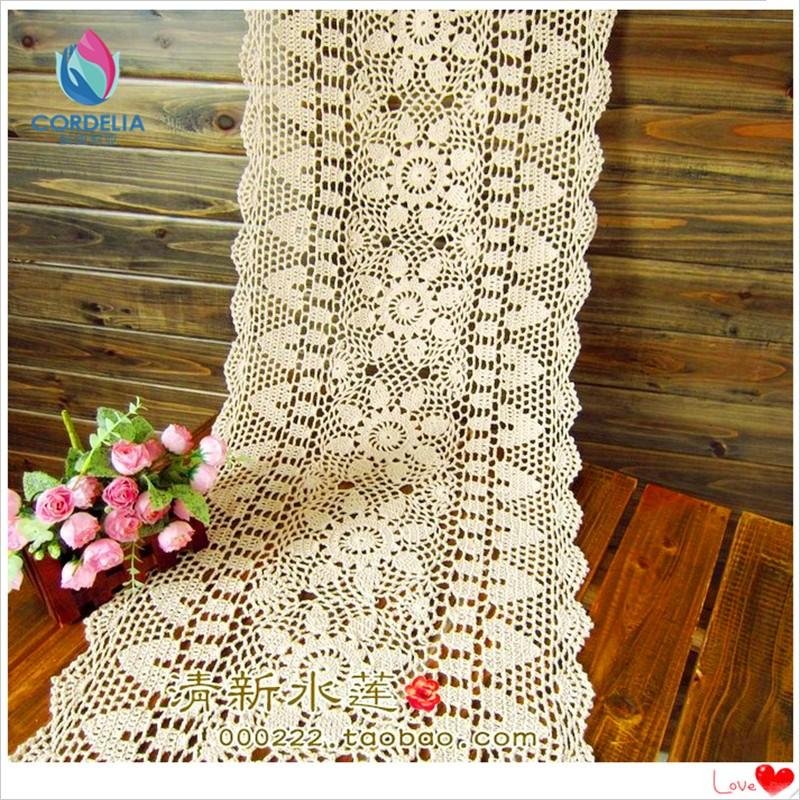 Envío Gratis blanco Biege rectángulo crochet gancho algodón flores ...