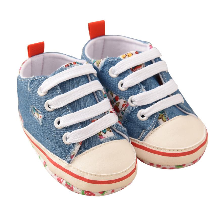 2017 New Blue Toddler Baby Denim Floral Printing Bandage Canvas Shoes Newborn First Walkers Shoes #4152