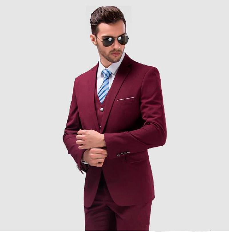 2017 Burgundy Mens Wedding Suits Italian Suits Jacket Pants Vest ...