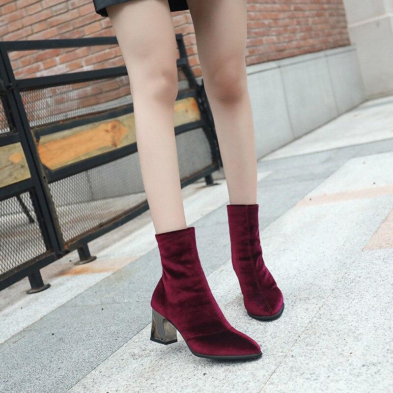Femme Hauts Neige Troupeau Talons De M8d246 Femmes Pointu Chaussures Cheville Bottes Mode Talon rouge Bout Carré Noir v7qxw