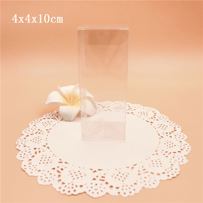 4*4*10cm Clear PVC Gift Boxes Transparent Souvenir Box Wedding Party Supply Packaging Box For jewelry Candy