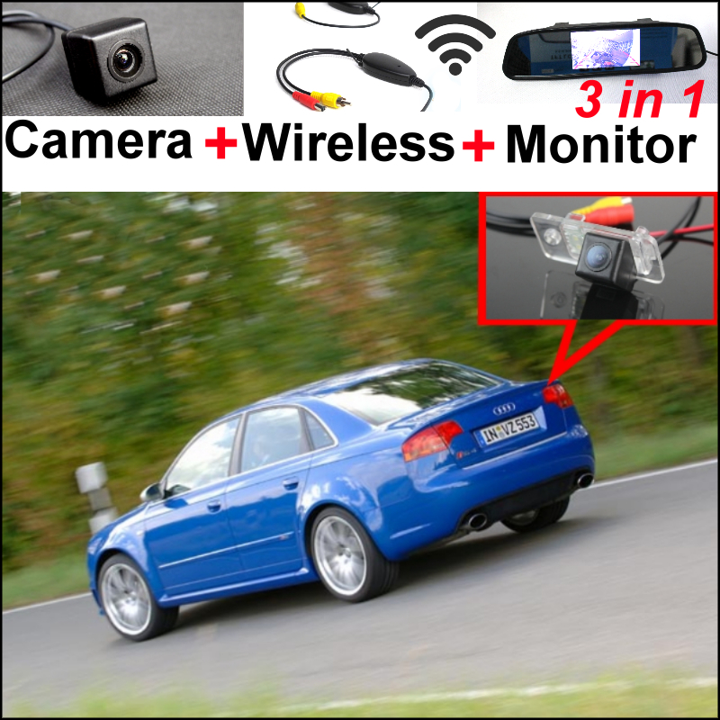 3in1 Special WiFi Camera + Wireless Receiver + Mirror Monitor Easy DIY Parking System For Audi A4 / S4 / RS4 2001~2008 wireless pager system 433 92mhz wireless restaurant table buzzer with monitor and watch receiver 3 display 42 call button