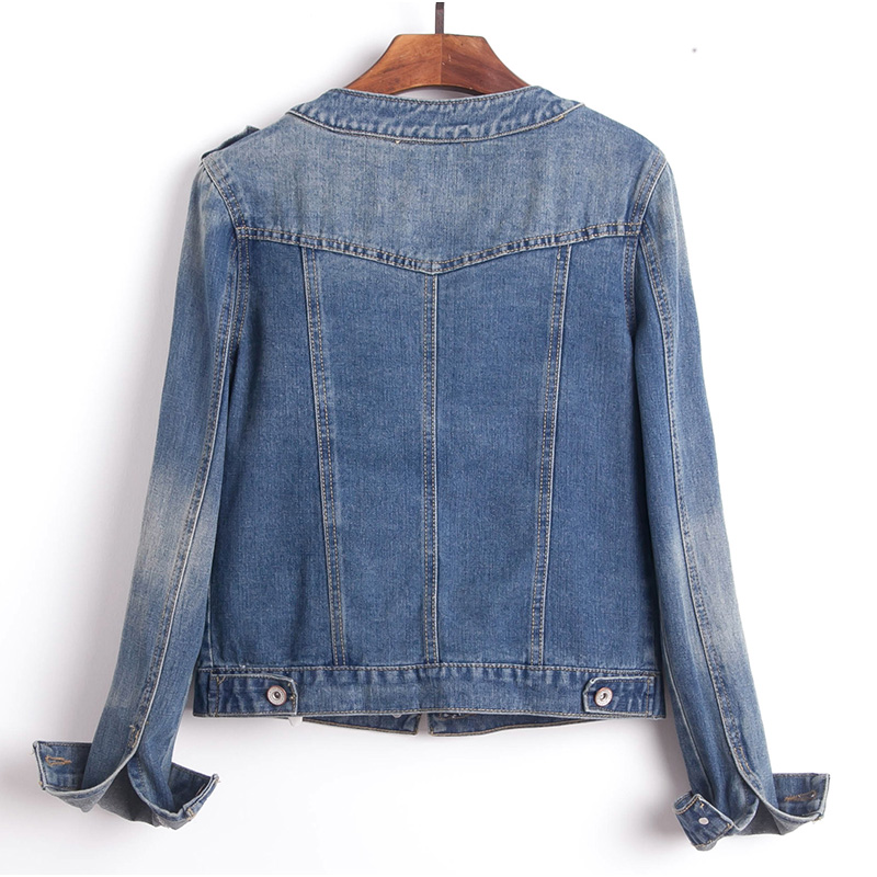 Plus Size Round Collar Jeans Jacket 4XL 5XL Sweet Women Light Blue Bomber Short Denim Jackets Long Sleeve Jaqueta Casual Coat 1