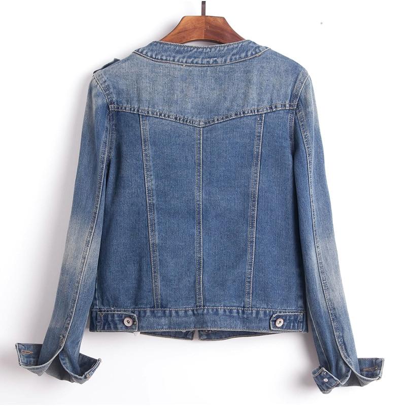 Plus Size Round Collar Jeans Jacket 4XL 5XL Sweet Women Light Blue Bomber Short Denim Jackets Long Sleeve Jaqueta Casual Coat 1