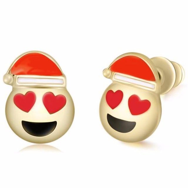 christmas earrings emoji face smile laugh cry big mouth red hat jewelry women fashion love stud