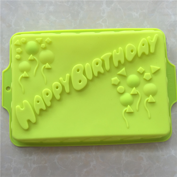 Silicone Square Happy Birthday Cake Chocolate Soap Pudding Jelly Candy Ice Cookie Biscuit Mold Mould Pan Bakeware Wholesales In Molds From Home
