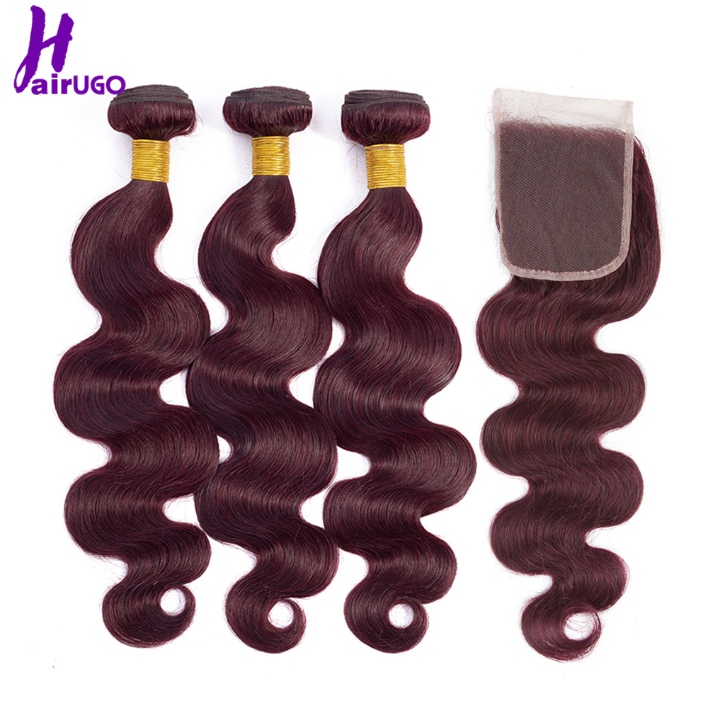 HairUGo Malaysian Body Wave Hair Bundles With Closure Blonde Burgundy Ombre Human Hair Double Weft Remy Hair