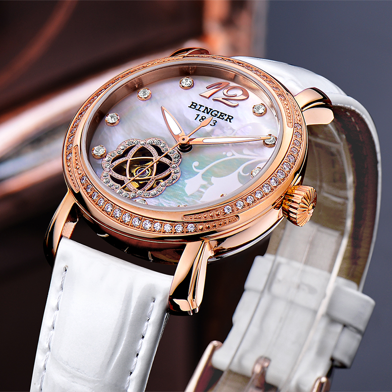 2017 New BINGER Skeleton Movement Rose Golden Dial Automatic Watch Mechanical Wristwatch For Women With White Leather Strap new arrivel white dial mens automatic skeleton mechanical watch with two movement freeship