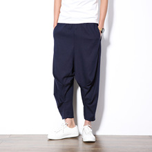 2017 New Cotton Amoi Nine Pants Male Flax Elastic Waist Was Thin Thin Jeans Pants Haren Leisure
