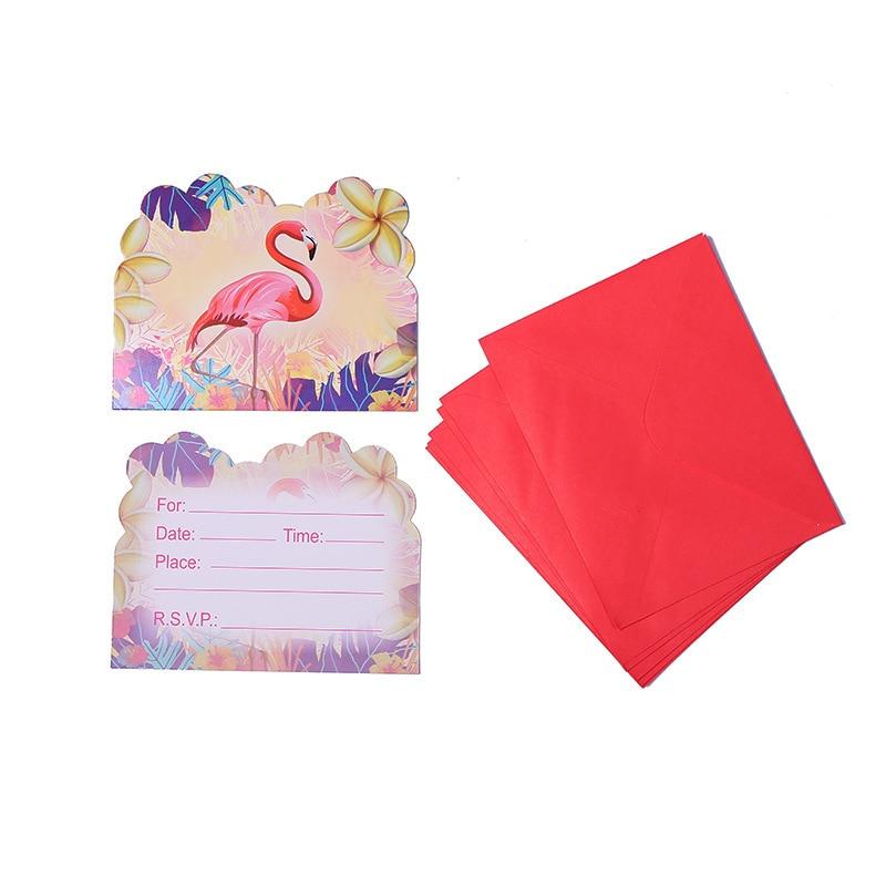 12 шт./лот новые стильные Фламинго Мультяшные Пригласительные открытки с конвертом Детские сувениры на день рождения товары и декор