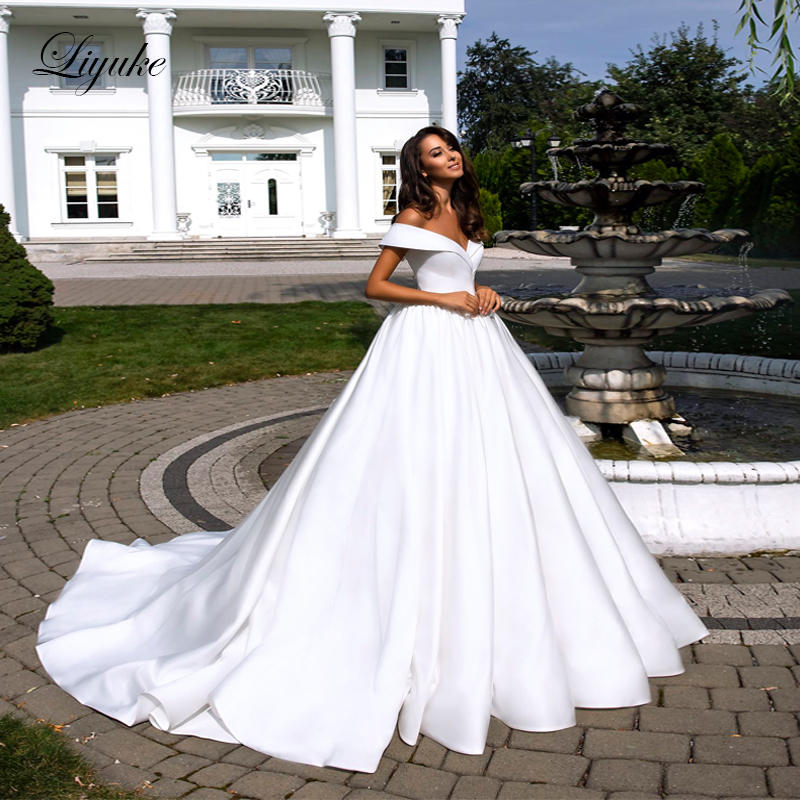 Liyuke Pure White Elegant Satin A Line Wedding Dress With Folden V Neckline Off The Shoulder