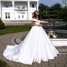 Liyuke Pure White Elegant  Satin A-Line Wedding Dress With Folden V-Neckline Off The Shoulder Gown