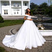 Liyuke Reinem Weiß Elegante Satin A-linie Hochzeit Kleid Mit Folden V-Ausschnitt Weg Von Der Schulter Hochzeit Kleid