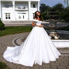 Liyuke 순수한 흰색 우아한 새틴 a 라인 웨딩 드레스 folden v neckline 오프 어깨 웨딩 드레스
