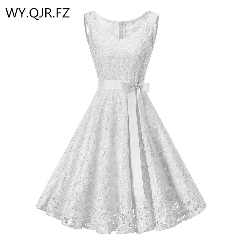OML510B#V-neck White Bow Short   Bridesmaid     Dresses   wedding party   dress   2018 prom gown Ladies women's fashion wholesale clothing