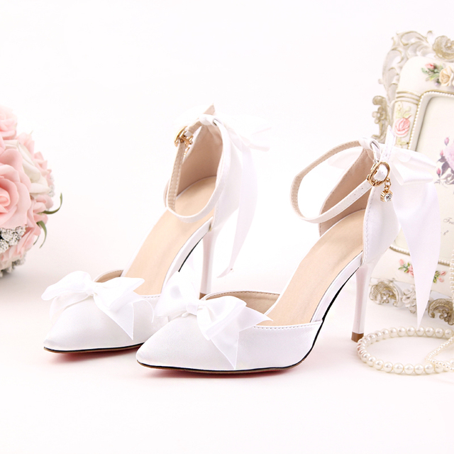 c9e97f1170d Women Wedding Shoes Summer 9cm High Heels Red Pink White Pumps Ribbon Bow  Pointed Toe Ladies Shoes Ankle Strap Sandals Footwear
