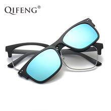 QIFENG Optical Eyeglasses Frame Men Women With Magnets Polarized Clip On Sunglasses Prescription Glasses Spectacle QF065