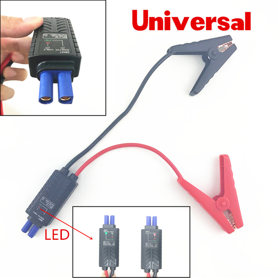 Universal 12V Smart LED Lead Cable Battery Alligator Clamp Clip Emergency Indicator For Car Jump Starter Short-Circuit Protectio