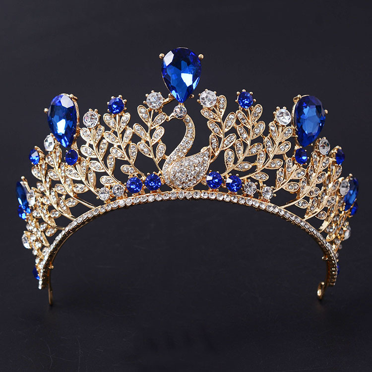 Luxury Rose Gold Vintage Blue Crystal Prom Pageant Crowns For Women Wedding Bridal Tiara For