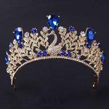 De lujo de Oro Rosa de Zafiro de La Vendimia Azul Crystal Prom Coronas Del Desfile Para Las Mujeres Wedding La Tiara Nupcial Para La Novia Accesorios Para el Cabello