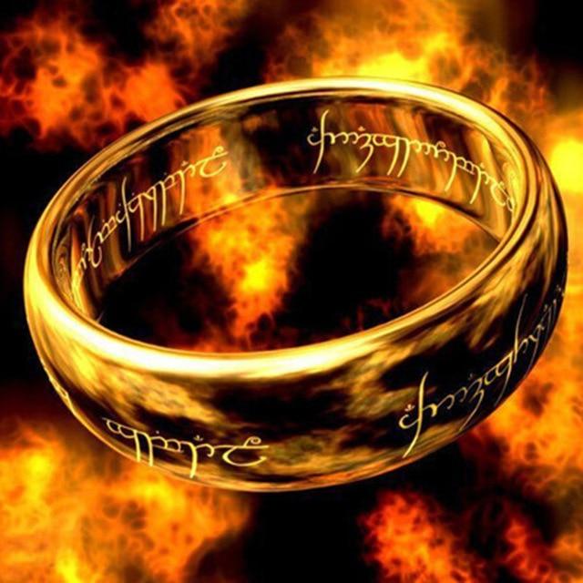 Filme quente Para Governá-los dedo Anéis dos homens A um anel de Titânio anel de aço inoxidável para presentes de casamento dos homens Livre grátis