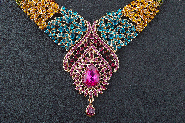 Statement India style Necklace earrings sets Bridal wedding Party Necklace Water Drop Type Golden Plated Crystal Jewelry Sets 5