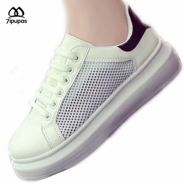 2016 New Women Shoes Fashion Pu Leather + Air Mesh Thick soles Shoes Woman Student Sport casual shoes for walking in Summer