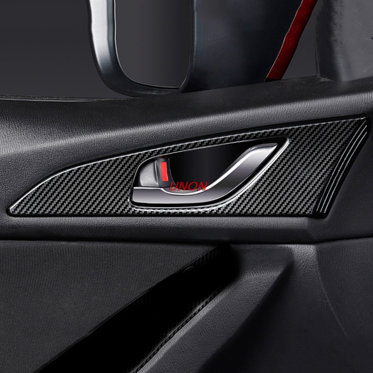 For Mazda 3 Axela 2017-2018 Carbon Fiber Interior Door Handle Bowl Cover Trim