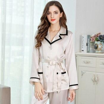 Woman Tops Pajamas Full Sleeve Spring 2019 Silk Satin Nightwear Grey Pyjamas Women Summer 100% Silk Sleepwear 2pcs/set M L XL