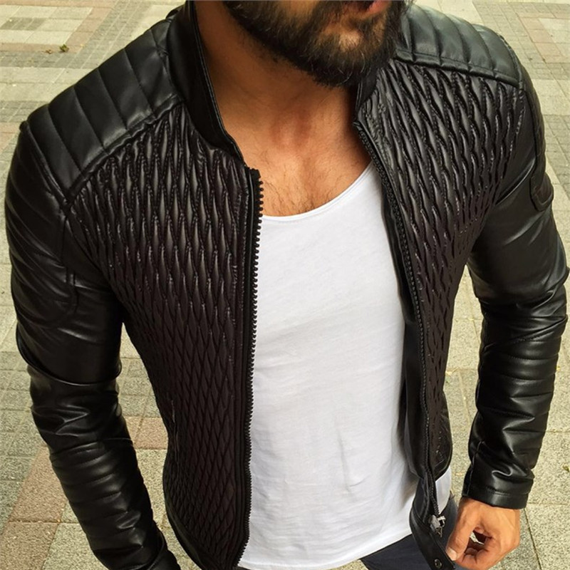 Men Jacket Coat Motorcycle Male Casual New Autumn Fashion Spring Slim Solid PU Outerwear