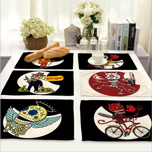 Punk Skull Cotton Fabric Placemat Home Decor Drawing Cup Mat