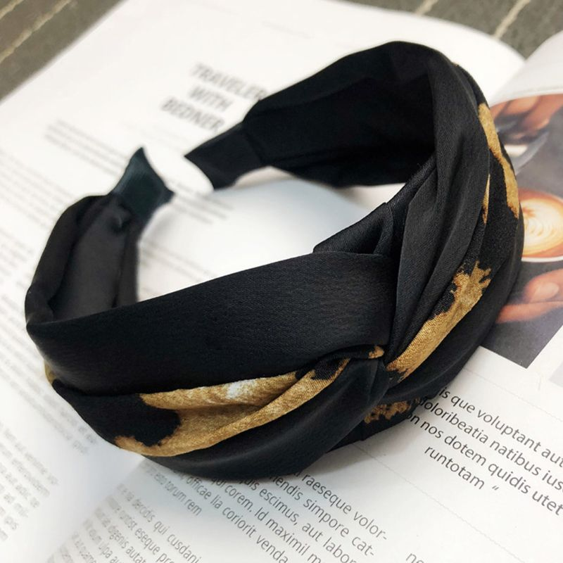 Women Vintage Twisted Knotted Cloth Wrapped Headband Block Leopard Patchwork Wide Hair Hoop Retro Ruched Elastic Casual   Headwear