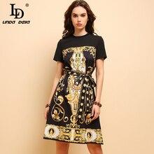 LD LINDA DELLA New Fashion Summer Dress Women's Short Sleeve Printed Beading Bow Tie Elegant Vintage Party Loose Midi Dresses цена и фото