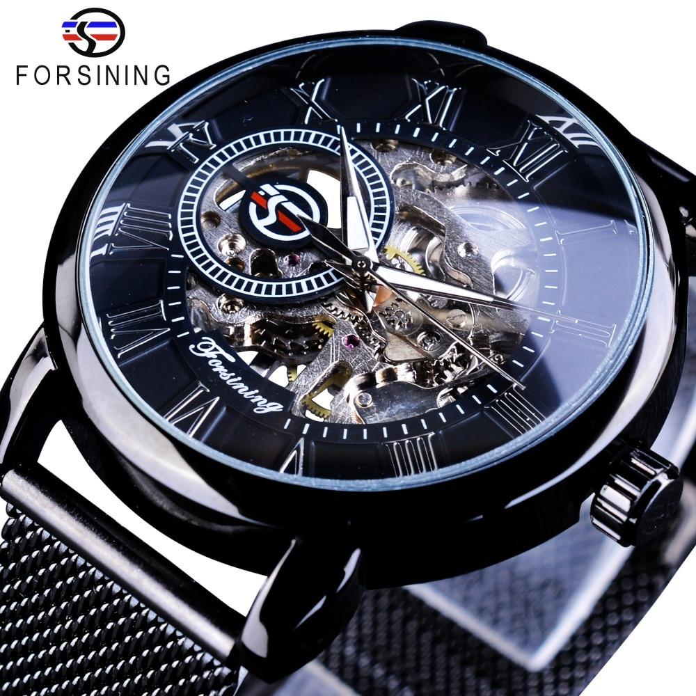 Forsining Retro de diseño de moda esqueleto deporte mecánico reloj luminoso manos malla transparente de pulsera para los hombres de marca de lujo