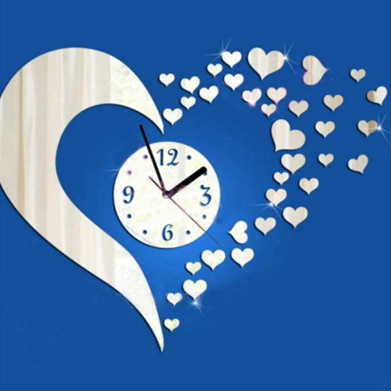3d Wall Clock Modern Design Diy Klok Heart Wall Sticker Decal Set