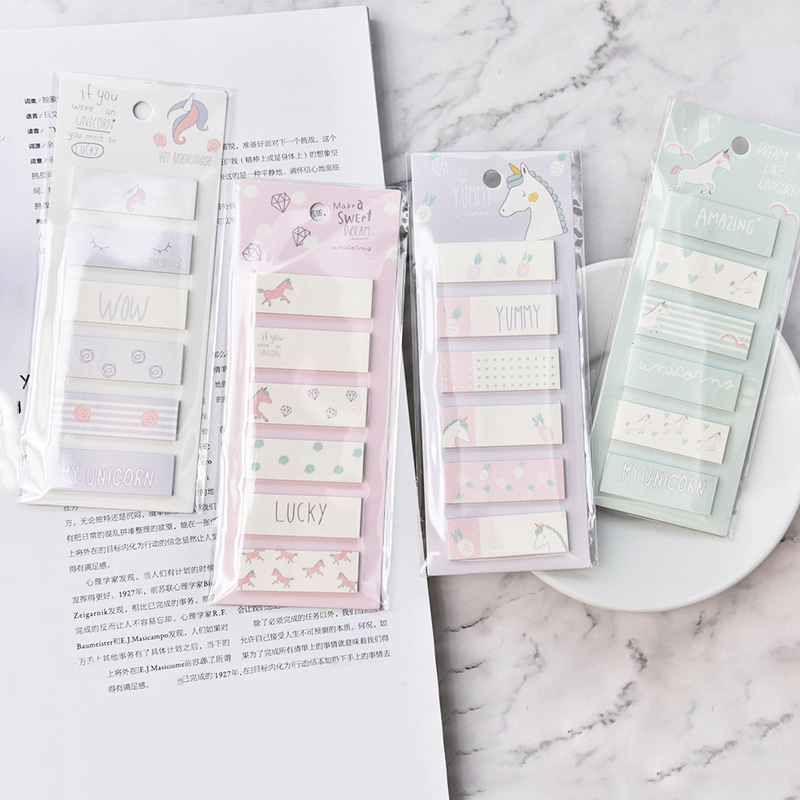 Cute Cartoon 6+1 Unicorn Cat Memo Pad Post It Note Sticky Paper Korean Stationery Rainbow Planner Stickers Notepad School Office creative paper diary planner stickers sheet to do list time post it schedule office and school supplies cheap korean stationery