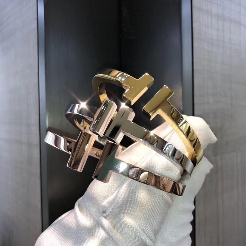 ZOZIRI luxury brand design thick double T bangle cuff bracelet women letter spring bracelets high quality jewelry accessories